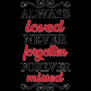 Always Loved Never Forgotten Forever Missed